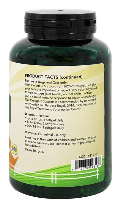 NOW Foods Omega-3 Support For Dogs/Cats ,180 Softgels