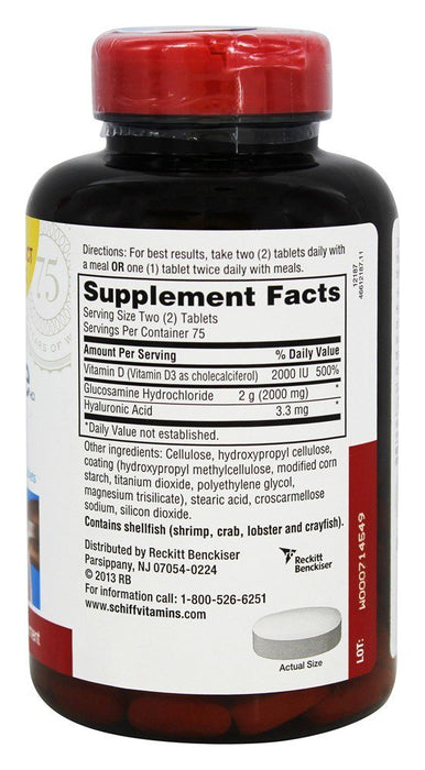Schiff Glucosamine Plus Vitamin D3, 2000 mg, 150 Coated Tablets