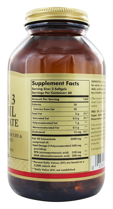 Solgar - Omega 3 Fish Oil Concentrate, 120 Softgels