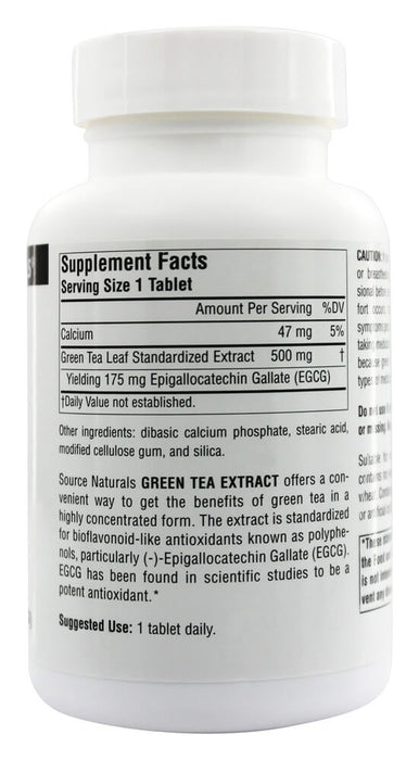 Source Naturals, Green Tea Extract 500 mg, 60 Tablets