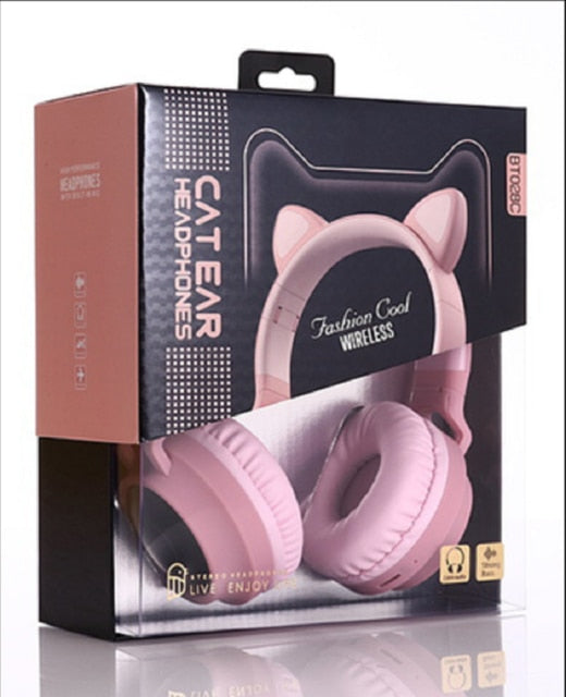 Cute Cat Ear Bluetooth 5.0 Wireless Headphones LED Noise Cancelling
