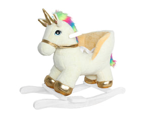 "21"" Fancy Golden White Unicorn Rocker W/Safety Belt & Sound"