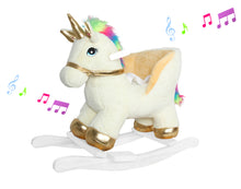 "Load image into Gallery viewer, 21"" Fancy Golden White Unicorn Rocker W/Safety Belt & Sound"