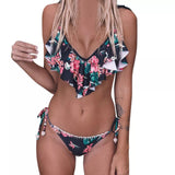 Women's Junior's Sexy Bandage Bikini Set Push-ups Brazilian Print Swimwear Beachwear