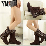 Winter Women's Casual Warm Fur Mid-Calf Boots Slip-On Round Toe