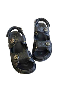 *Payment Plan Available*Chanel Dad Sandals Leather Sandals for Women Black