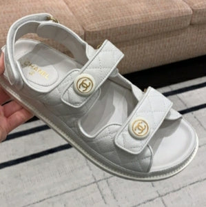 *Payment Plan Available*Chanel Dad Sandals Leather Sandals for Women White