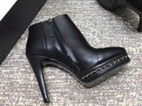 Chanel Cap Toe Iconic Chain Heel Ankle Boot Black