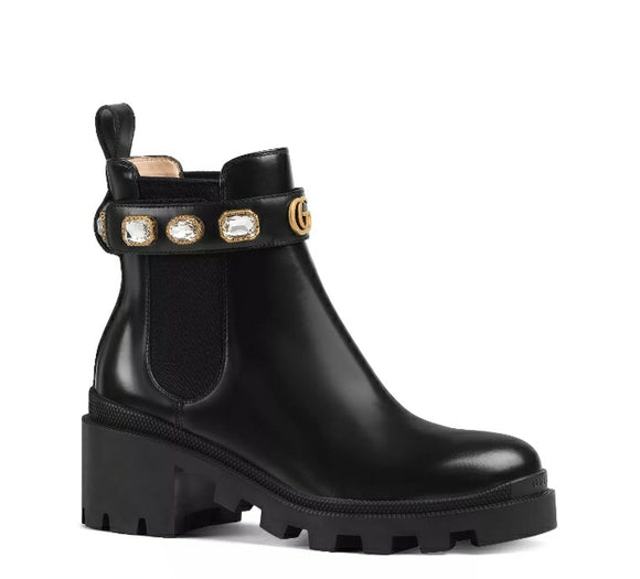 Gucci Women's Trip Leather Ankle Boots with Crystal Belt