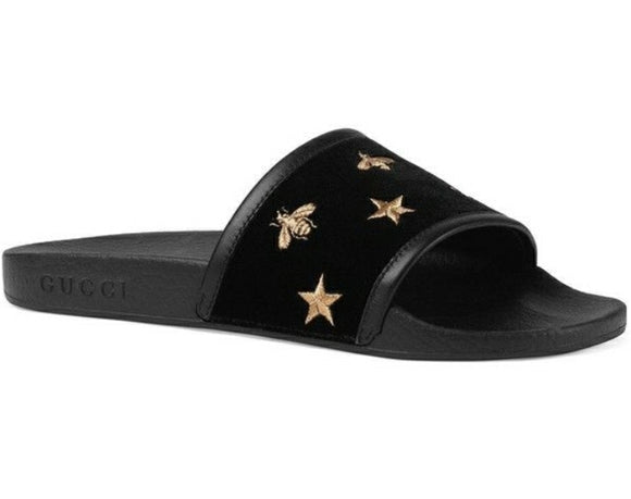 GUCCI GG PURSUIT BEE & STAR SLIDE SANDAL