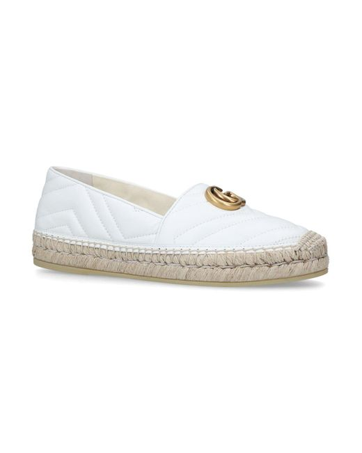 GUCCI GG Ornament Leather Espadrilles(2 Colors)