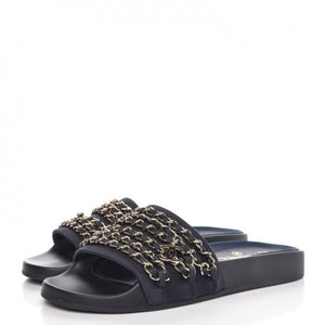 Chanel Tropiconic Black Satin Gold Chain Sandals Slide