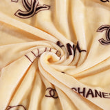 "Chanel Fleece Blanket Extra Large Throw 80""x60"" Brown"
