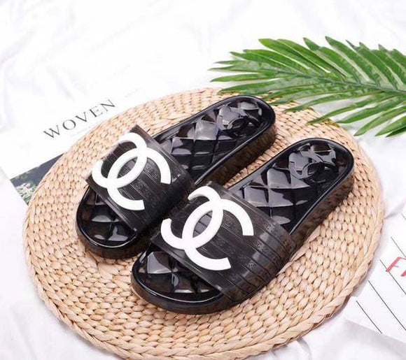 Chanel Transparent Jelly PVC Clear Pool Slides Black