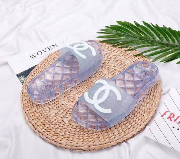 Chanel Transparent Jelly PVC Clear Pool Slides