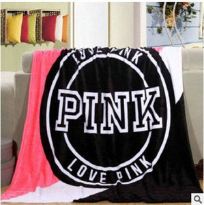 "Victoria Secret Pink Blanket Travel Throw 50""x60"" VS Letters Pink"