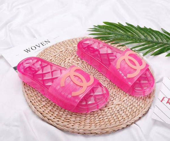 Chanel Transparent Jelly PVC Clear Pool Slides Pink