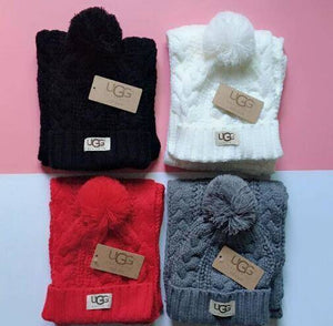 Unisex Ugg Beanie Sock Cap and Scarf set