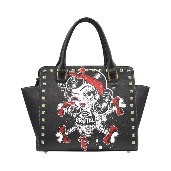 Brutal Betty Bones Rivet Shoulder Handbag