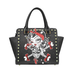 View Image of Brutal Betty Bones Rivet Shoulder Handbag