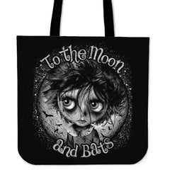 View Image of Moon and Bats Tote Bag