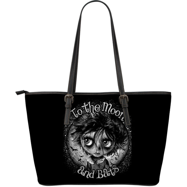 Moon and Bats Large Leather Tote Bag