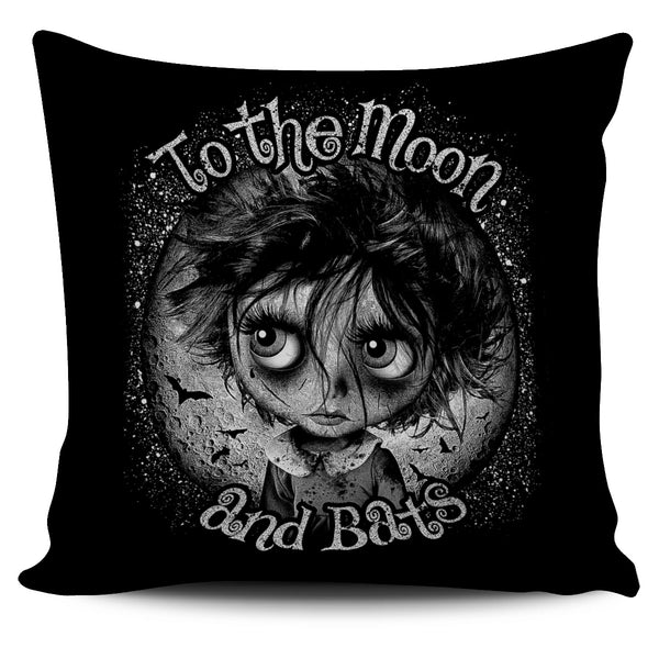 Moon and Bats Pillow Cover