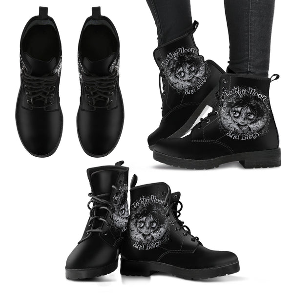 Moon and Bats Women's Leather Boots