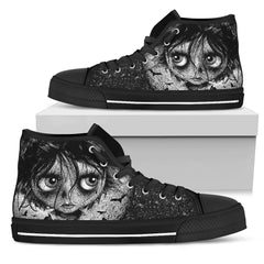 Another view of Bat Moon Rising Women's High Top Canvas Shoe