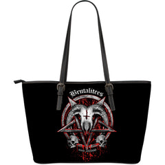 View Image of Brutal Baphomet Large Leather Tote Bag