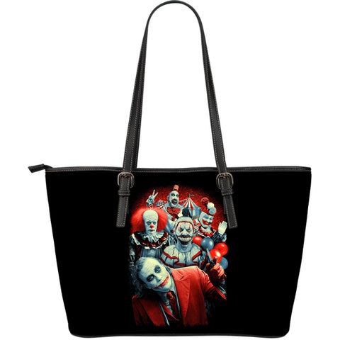 Brutal Clowns Large Leather Tote Bag
