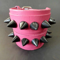 View Image of Pink Leather Band With 2 Rows Of Black Studs