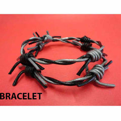 View Image of Leather-barbed-wire-bracelet-black-and-silver_RYJIMLFN5NJT.JPG