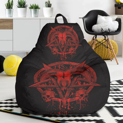 View Image of Red Brutal Baphomet Bean Bag Chair