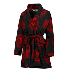 View Image of Red Brutal Baphomet Ladies Bath Robe