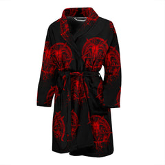 View Image of Red Brutal Baphomet Men's Bath Robe