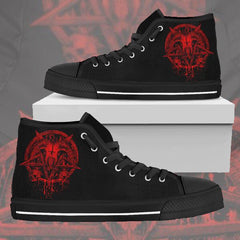 Another view of Red Brutal Baphomet Ladies High Tops