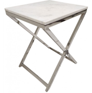Shelli Marble & Chrome Side Table