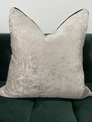 Brogan Textured Velvet Cushion - Pewter with Black Piping - 55cm x 55cm