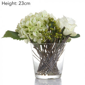 Rose and Hydrangea Mix in Glass Vase - 23cm