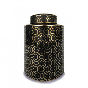 Barga Ceramic Jar - Black & Gold - Large