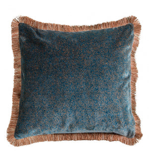Mottled Velvet Cushion - Teal - 50cm