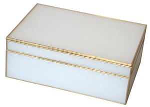 Glass Décor Box - White & Brass - Medium