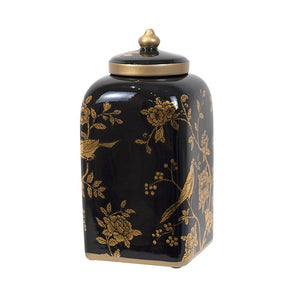 Japonaire Black & Gold Ceramic Jar - Large