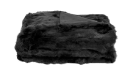 Rabbit Fur Throw - 200cm x 250cm - Black
