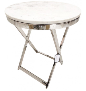 Ricky Marble & Chrome Round Table