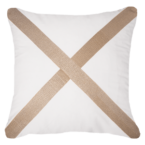 Braid Cross Cushion - White Gold - 55cm