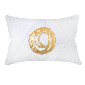 Disc Orbit Lumbar Cushion - White Gold - 35 x 53cm