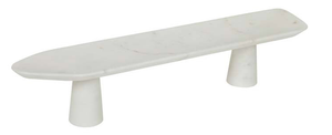 Noah Footed Marble Platter - White