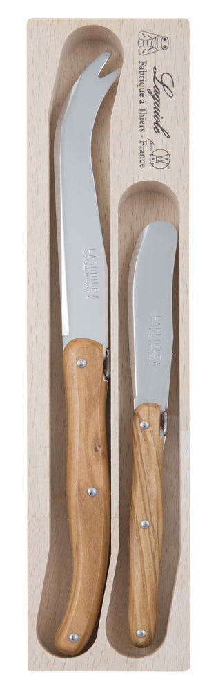 Debutante 2 Pce Cheese Set - Stainless Steel Olive Wood